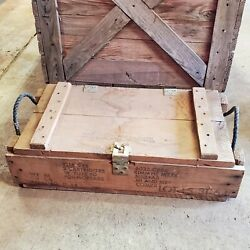 Vintage Military Wooden Ammo Crate Box Ammunition For Cannon