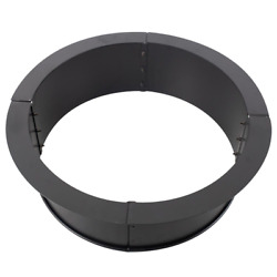 Pleasant Hearth Wood Fire Ring Pit Black Round Large Solid Steel Outdoor Heating