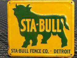 Rare Vintage Nos 1950and039s Sta-bull Embossed Sign By Moore Signs Inc. Detroit