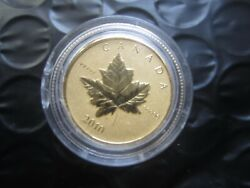 🎁 2010 1/5 Oz 6.25 G Pure Gold Maple Leaf Coin - Rare Only 3000 Minted