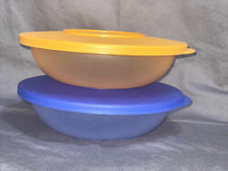 """2 Tupperware Stackable 7"""" Cereal Bowls Impressions Colors 3470b-2 With Lids"""