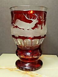 Antique Bohemian Glass Beaker Goblet Ruby Red Deep Etched