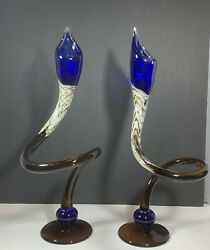 Hand Blown Art Glass Twisted Candle Holders Cobalt Blue Brown White