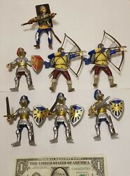 Vtg 7 Papo Fantasy Knights Lot Early 2000s Mideval Foot Soldiers Castle Archers