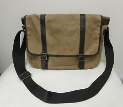 Fossil brown Waxed Canvas Leather Messenger Laptop bag $31.00