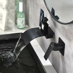 Chrome/black Waterfall Wall Tap Mixer Hot And Cold Bathroom Basin Brass Faucet