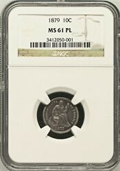 1879 Ngc Ms61 Prooflike 14,000 Minted - Lowest 1874-date 10c ✅key 🔴 Seated Dime