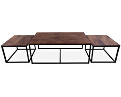 Solid Wood 3 Piece Coffee Table And Nesting Tables Set