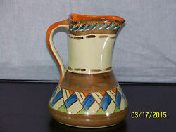 Myott And Son Co., Hand Painted Art Deco Era C1930's Large Pitcher