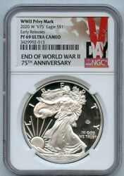 2020-w V75 S1 American Silver Eagle Early Releases Ngc Pf 69 Ultra Cameo