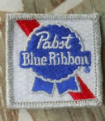 Vintage Pabst Blue Ribbon  Beer Sew On Fabric Patch  2 W X 2 T