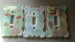 Lots Of 3 Ceramic Light Switch Covers Strawberry Acorn Flower