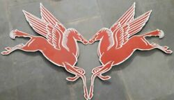 Porcelain A Pair Left And Right Mobil Pegasus Enamel Sign Size 24 X 40 Inch