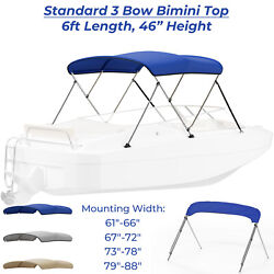 Standard Bimini Top 3 Bow Boat Cover 6ft W/ Rear Poles And Storage Boot Waterproof