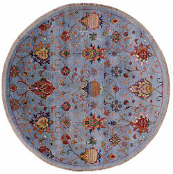5and039 Round Hand Knotted Traditional Wool Rug - Q7748