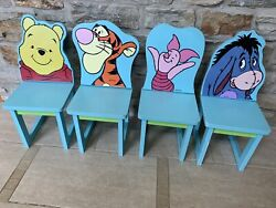 Vintage Lot Of 4 P.j. Toys Wooden Winnie The Pooh Chair And Friends Disney