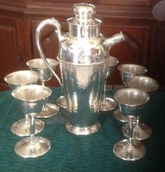 Vintage Hammered Silver-plate Over Copper Martini Shaker W/8 Hammered Coupes