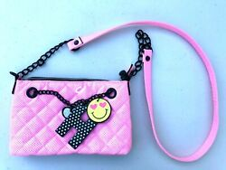 Justice Purse Messenger Bag Crossbody Girls Pink Bright H Heart Leather Faux Han $16.00