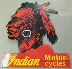 Porcelain Indian Motorcycles Enamel Sign Size 30 X 36 Inches Pre-owned