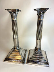 Antique Neoclassical Hawksworth And Eyre Sterling Silver Candlesticks Provenance