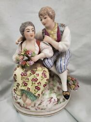 Antique Porcelain Figurine Man And Woman Embracing Makers Mark On Bottom, Back