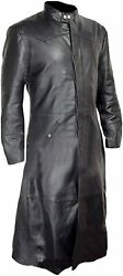 Mens Sexy Real Black Leather Long Trench Coat Matrix Goth Coats Gothic Style