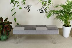 Sophisticated Waterfall Lucite Bench Upholstered High End Chenille Linen