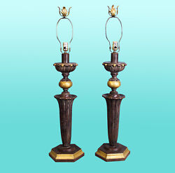 Pair Of Gilded Columns Lamps With Metal Finials - Pair Of Columns Lamps