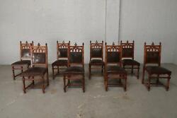 8 Nice Walnut Antique French Gothic Dining Room Chairs -