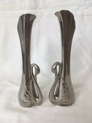 Art Deco Pair Of Silver Plated Fluted Swan Bud Posy Vases Collectable