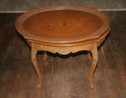 Antique Vintage Solid Wood Carved Coffee Side End Table W/removable Serving Tray