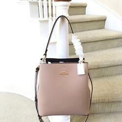 New Coach Town Bucket Bag Crossbody 91122 Taupe Oxblood $188.00