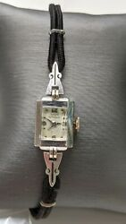 Vintage Womanand039s Girard Perregaux Watch 14k White Gold Wind Up Type Art Deco