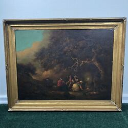 Antique Framed Oil Painting On Board 29x23 Unsigned Daily Life Scene 1800s