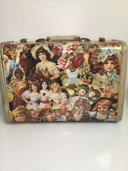 Very Rare Unique Samsonite Luggage Wrapped In Victorian Die Cut Style Decoupage.