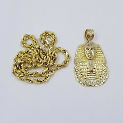 Solid 10k Gold Pharaoh Head Pendant Charm Egyptian 6mm Rope Chain 20 22 24 26