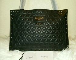 Balmain Paris Authentic Quilted Black Leather Studded Crossbody Clutch Bag
