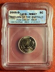 2005-d Return Of The Buffalo, First Day Issue. Ms-67 By Icg. Lot T1317