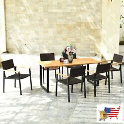 7 Pcs Outdoor Patio Rattan Dining Chair Table Set