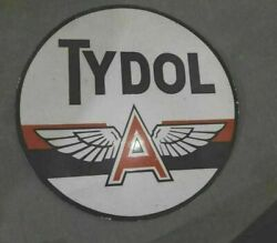 Porcelain Tydol Flying A Enamel Sign Size 48 Inches Double Sided