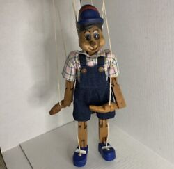 Vintage Carved Wooden Marionette Puppet Pinocchio Handmade