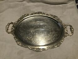 Epca By Poole Oval Silver-plated Footed Serving Tray With Handles