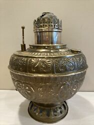 Vintage Ornate Brass Oil Hurricane Lamp Converted Electric Made Us