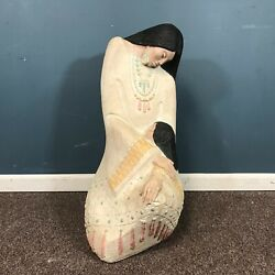 Large Life Size Southwest Style Sculpture Pottery Of A Mother And Child