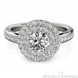 0.79 Ct F/vs2 Natural Diamond Double Halo Engagement Ring Round 14k White Gold