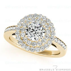 0.79 Ct F/vs2 Natural Diamond Double Halo Engagement Ring Round 14k Yellow Gold