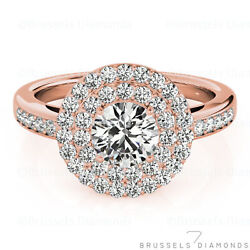 0.79 Ct Natural Diamond Double Halo Engagement Ring Round F/vs2 14k Rose Gold