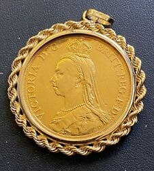1887 Great Britain Queen Victoria £2 Two Pound Gold Coin In 14kt Gold Pendant