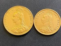 1887 Great Britain Queen Victoria Sovereign And Half Sovereign Gold Coins