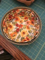 Longaberger Leaf Green Sm And Med Serving Tray And 9 Keeping Baskets + Sf Liners